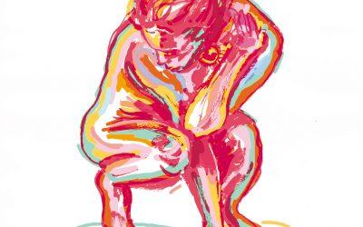 Femme accroupie couleurs