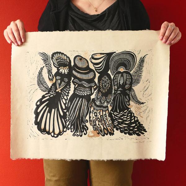 Linogravure Quatre soeurs