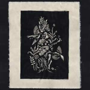 Linogravure Musicienne